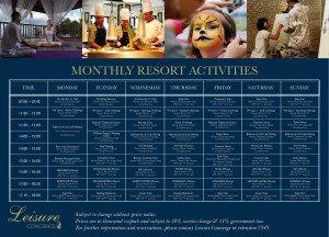 Poster Monthly Resort Activities
