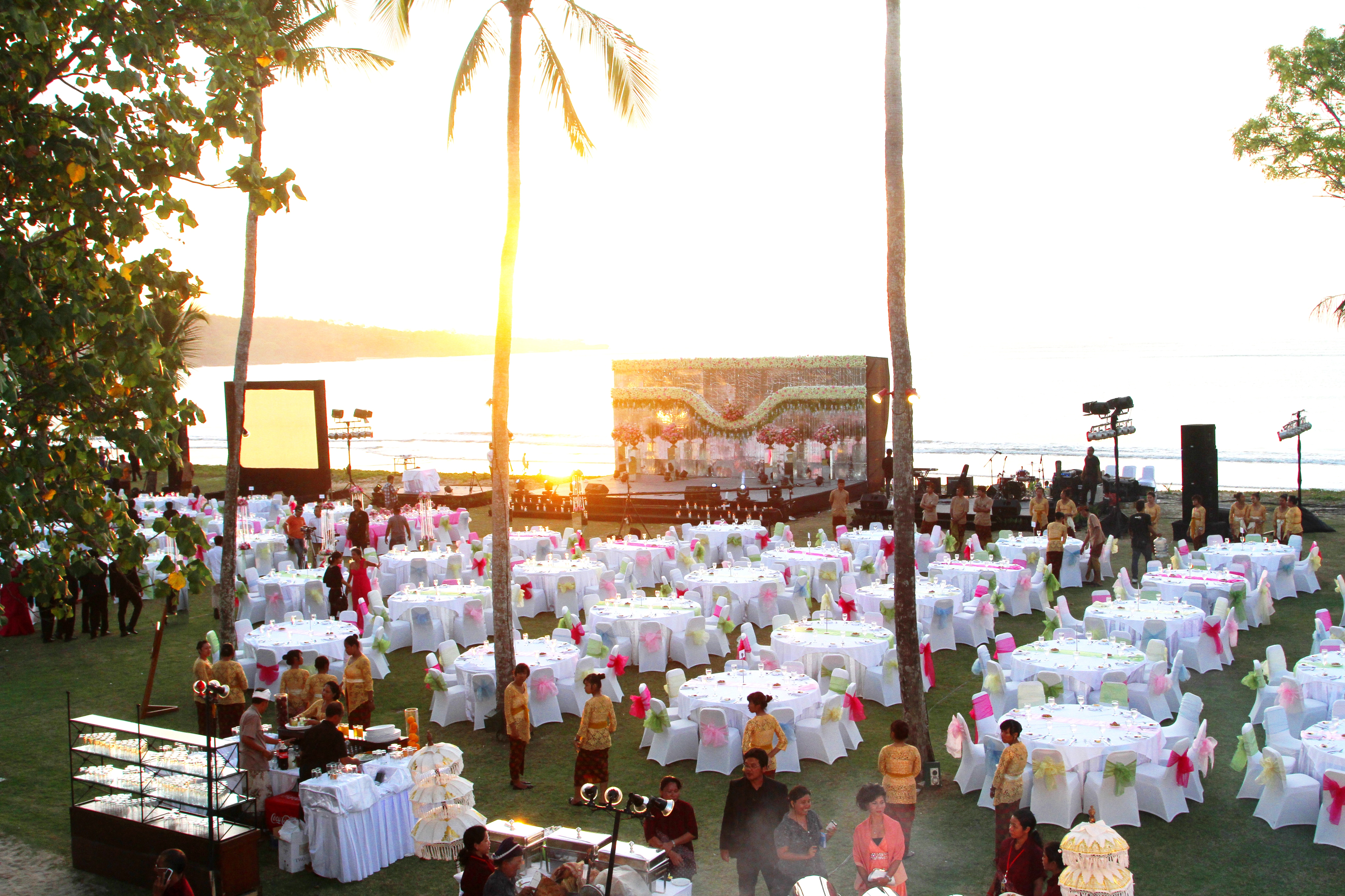 Outdoor Dinner Sunset Wedding InterContinental Bali Resort